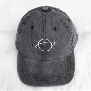 Gray washed planet embroidered baseball hat
